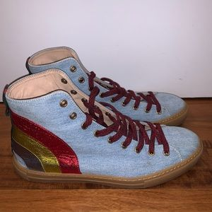 Gucci High Top sneakers with rainbow and Gucci Web